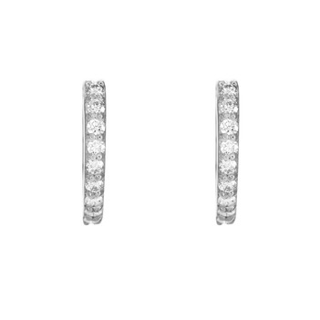 Diamond 18K White Gold Round Hoop Earring