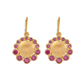 Ruby and Gold Drop Earrings
