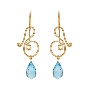 Artistic Blue Topaz Gold Danglers