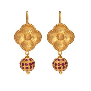 Resplendent Ruby & Gold Drop Earrings