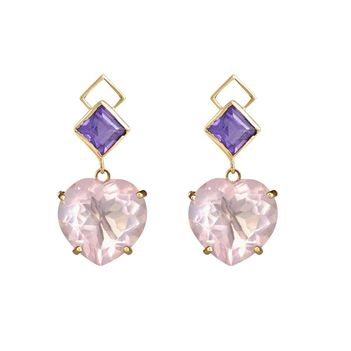Ethereal Amethyst & Rose Quartz 18K Gold Earrings