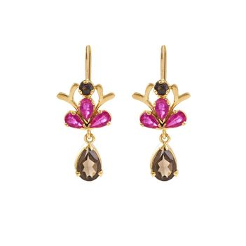 Graceful Ruby & Smoky Topaz 18K Gold Earrings