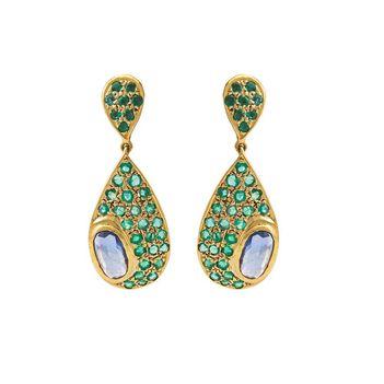 Spectacular Emerald & Blue Sapphire 18K Gold Earrings