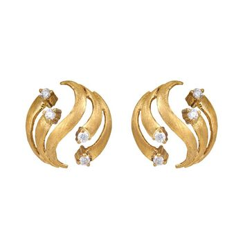 Exotic RBC Diamonds 18K Gold Stud Earrings