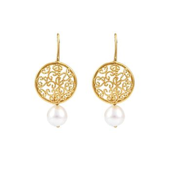 Intricate Pearl & Gold Hook Earrings