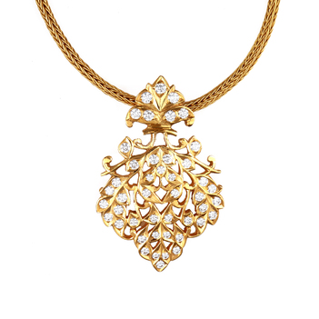Exemplary 22K South Indian Diamond Pendant