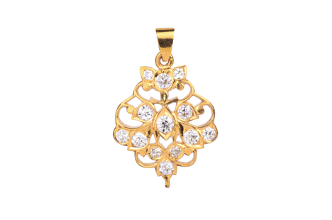 Quintessential 22K South Indian Diamond Pendant