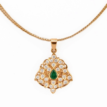 22K Gold Diamond and Emerald Pendant