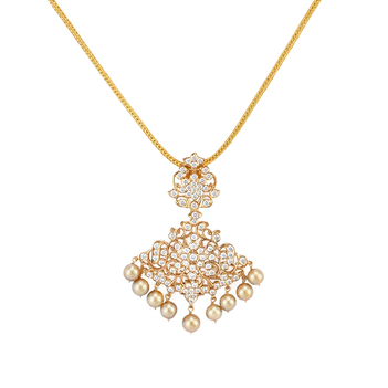 Diamond & South Sea Pearl Pendant with Chain