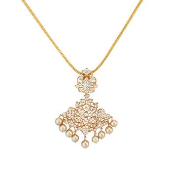Diamond & South Sea Pearl Pendant with Chain