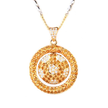 Citrine Dial Diamond Gold Pendant