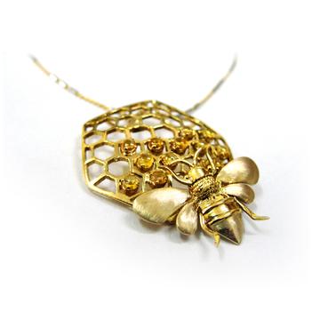 Rivetting Honeycom 18K Gold and Citrine Pendant