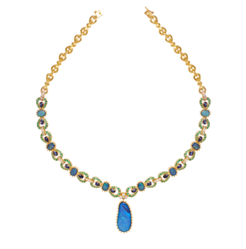 Ravishing  Opal Emerald Sapphire and Diamond Necklace
