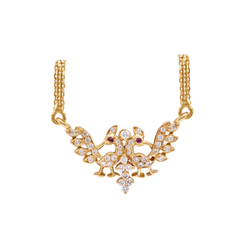 Captivating Diamond and Ruby Peacock Pendant with Chain