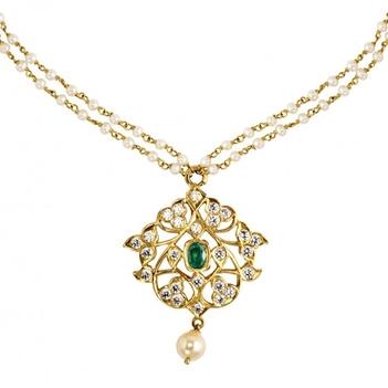 Archetypical 22K Diamond Emerald & Pearl Gold Pendant