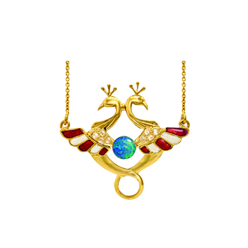 Spell-Binding  Rose-Cut Diamond, Opal & Enamel Gold Pendant with Chain