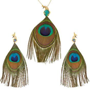 Flamboyant Opal & Diamond Gold Pendant and Earring Set