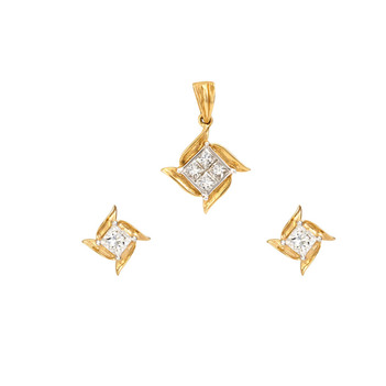 Urbane Diamond & 18K Gold Pendant Set with Studs
