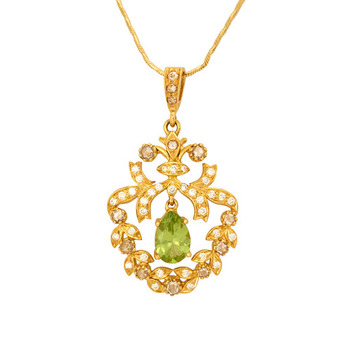 Opulent Peridot, Round Brilliant Diamonds & Rose cut Diamonds Gold Pendant