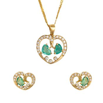 Captivating Diamond, Emeralds and 18K Gold Pendant Set with Earring