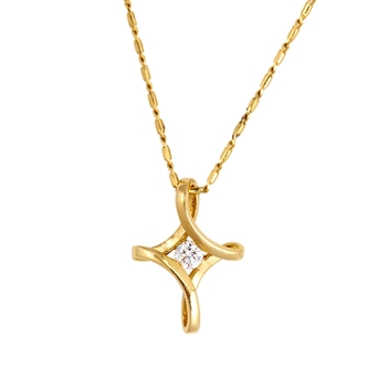 Graceful Diamond & 18K Gold Pendant