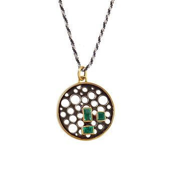 Fashionable Pendant with Emeralds in 18K Gold & Sterling Silver (Without Chain)