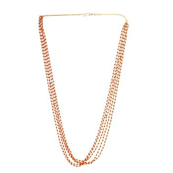 August Coral and 22K Yellow Gold Long Necklace