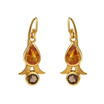 Adorable Orange Sapphires & Smoky Topaz Gold Danglers
