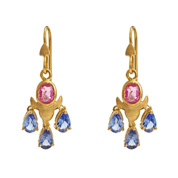 Sublime Blue Sapphire & Pink Sapphire Gold Danglers