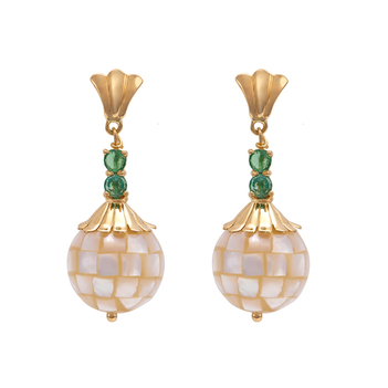 Enticing Mother Of Pearl and Emerald Drop Earrings