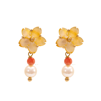 Adorable Mother Of Pearl, Coral and Pearl Earrings