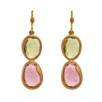 Subtle Pink Tourmaline & Peridot Gold Danglers