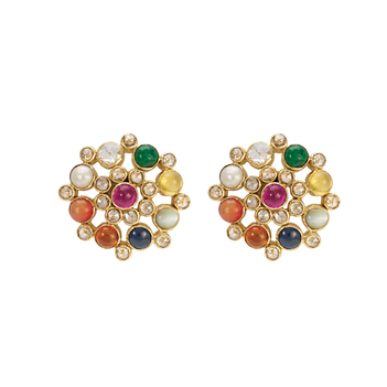 Modern Navaratna 18K Gold Stud Earrings