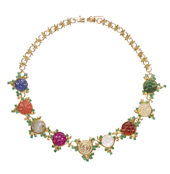Inimitable Rosette Navaratna Necklace