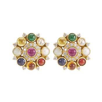 Traditional Navaratna 18K Gold Stud Earrings
