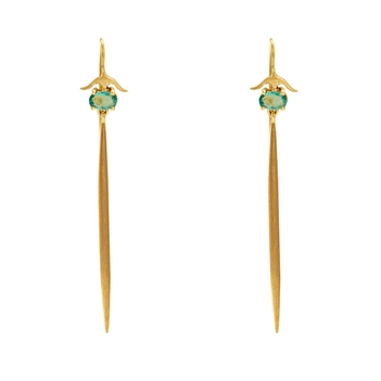 Chic Emerald and Gold Danglers