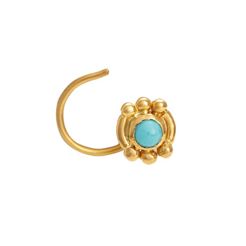 Delightful Turquoise and Gold Nosepin