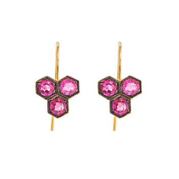 Honeycomb Effect Ruby & 18K Yellow Gold Drop Earrings