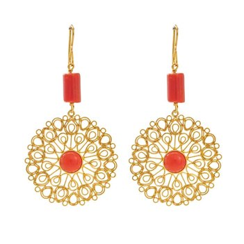 Intricate Coral and Gold Filigree Earrings
