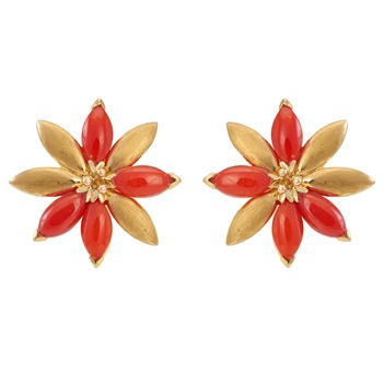 Iconoclastic Corals & 18K Yellow Gold Stud Earrings