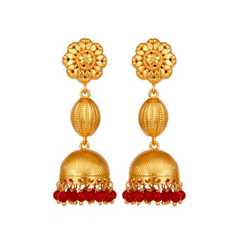 Ethnic Coral Beads 925 Sterling Silver Jhumka Earrings