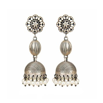 Enticing Pearls 925 Sterling Silver Oxidised Jhumki Earrings