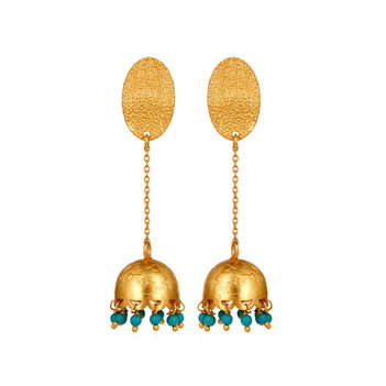 Svelte Turquoise Beads 925 Sterling Silver Jhumka Earrings