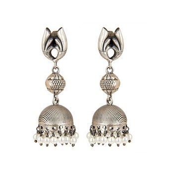 Novel Pearls 925 Sterling Silver Jhumka Earrings