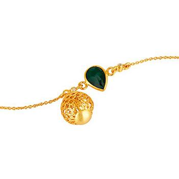Green Onyx & White Topaz Sterling Silver Charm Bracelet