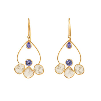 Beatnik Tanzanite & Sliced Diamond - 18K Yellow Gold Danglers