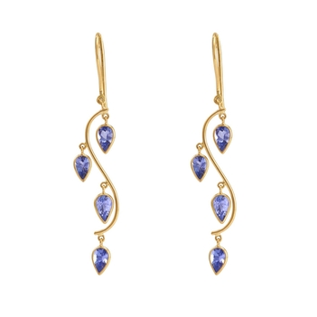 Transcendental Tanzanites &18K Yellow Gold Danglers