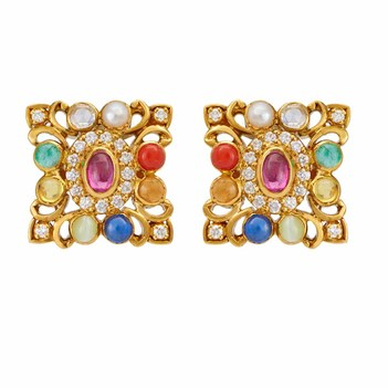 Ancestral Navratna Stones & 22K Yellow Gold Stud Earrings