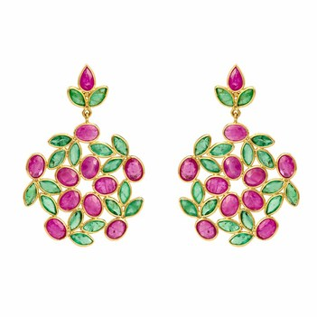 Beauteous Rubies & Emeralds 18K Gold Dangle Drop