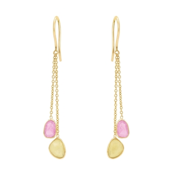 Tranquil Multi Sapphire 18K Yellow Gold Dangler Earrings